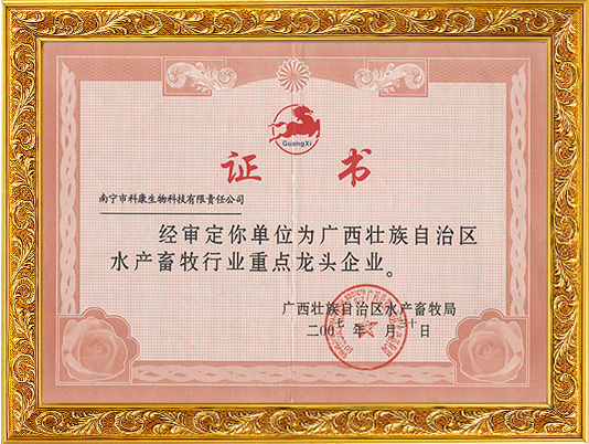 -龙头企业证书